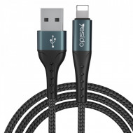 Yesido - Data Cable (CA-62) - USB to Lightning, 2.4A, 1.2m - Black