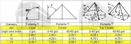 Lant de ridicare cu 3 brate si carlige de scurtare - 2 metri - 8 mm