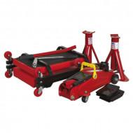 Set cric hidraulic si accesorii, 2 tone, 5 piese