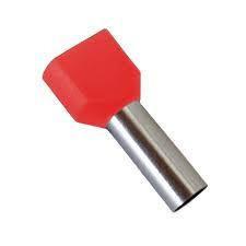 Pini izolati dublu, culoare rosu 2x6 mm, pachet 100 buc