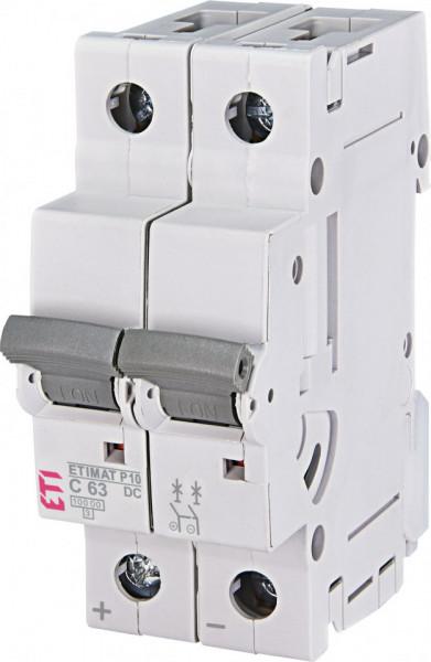Siguranta automata 2p pentru instalatii fotovoltaice ETIMAT P10-DC 2p C63, eti