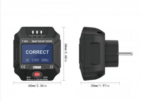 Tester priza profesional cu afisaj, tester RCD 30mA,model 2020