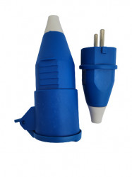 Stecher schuko, iesire spate, plastic, 16 A, albastru