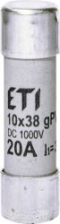 Siguranța fuzibila cilindrice CH10x38 gPV 20A/1000V DC eti