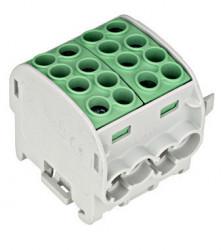 Clemă derivaţie, 35mm², 4 intrări-4 ieşiri, galben/verde Schrack