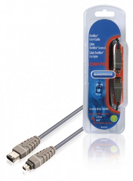 Cablu Firewire, tata-tata, 4 pini la 6 pini, 2m, cablu 100% cupru, Bandridge