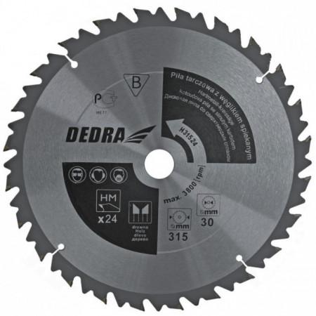 Disc circular pentru taiat lemn , 315mm x 24T x 30mm , dinti vidia , Dedra
