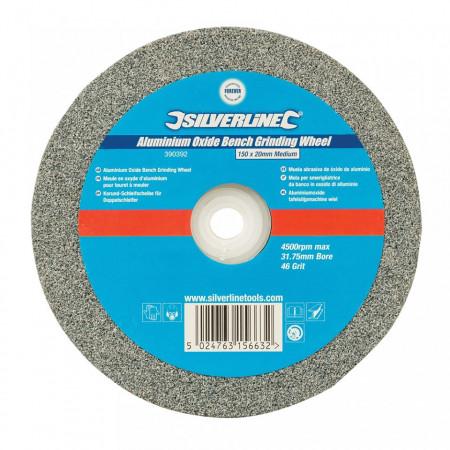 Disc piatra pentru slefuitor de banc, 150mmx20mm,granulatie medie, Silverline