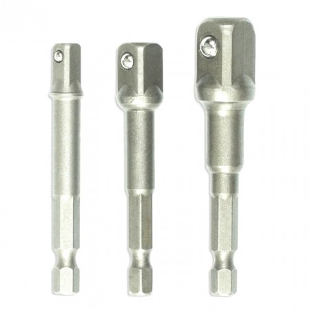 Set 3 adaptoare hex-chei tubulare, 1/2, 1/4, 3/8, Dedra