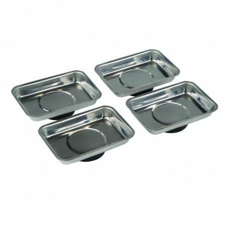 Set 4 tavite din inox , magneti puternici , 95 x 65mm , Silverline Magnetic Tray Set 4pce