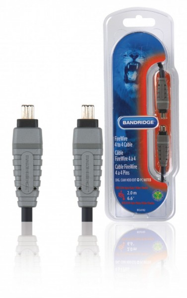 Cablu Firewire tata-tata, 4 pini, 2m, cablu 100% cupru, Bandridge