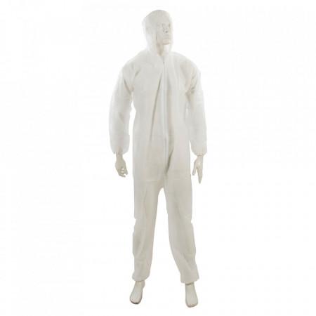 Combinezon protectie cu gluga si fermoar, material netesut, unica folosinta, marimea XL, 30 gsm, Silverline