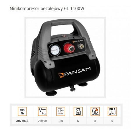 Mini compresor aer , 1.5CP , 6L butelie , 180L/min , 8 BAR , Dedra 1100W 6L