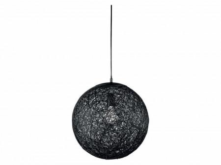 Pendul, glob negru, sfoara natural impletita, E27, 37cm, bec LED vintage, Livarno Lux
