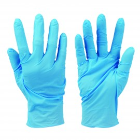 Set 100 manusi din nitril fara pudra , protectie universala, anti-virus, anti-bacterii, marimea L , albastru , Silverline