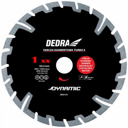Disc diamantat TURBO S , 125 x 22.2mm , taie caramida , piatra , beton , Dedra