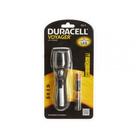 Lanterna LED, 25 lumeni, raza 18m, 3 LED, 160mm, rezistenta impact, Duracell
