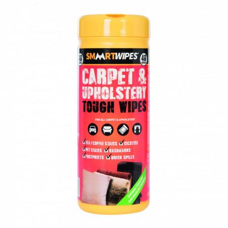 Servetele pentru curatat covoare , tapiterii , mocheta , scaune auto , Smaartwipes Carpet & Upholstery Tough Wipes 40pk