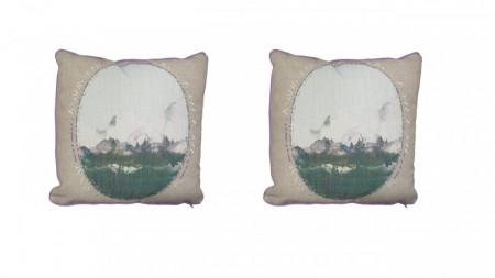 Set 2 perne decorative premium, 43 x 43 cm, peisaj pictat, husa detasabila, George Home