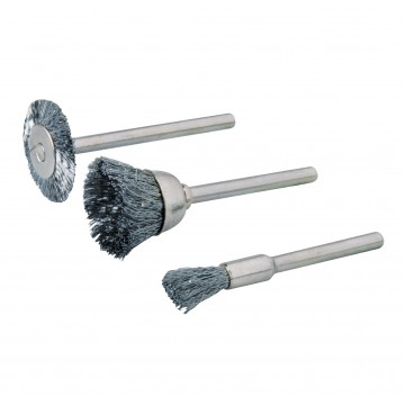 Set 3 piese curatat , slefuit , pentru mini -oberfreza, Silverline Rotary Tool Steel Wire Brush Set 3pce