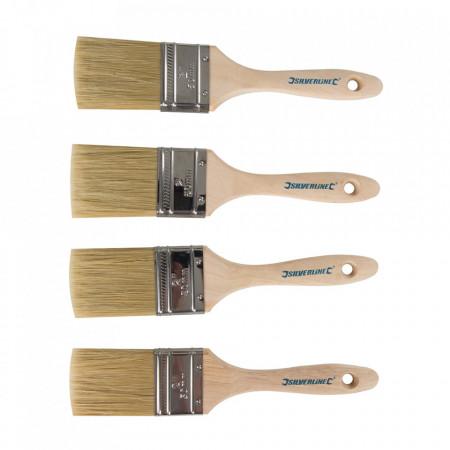 Set 4 pensule vopsit , maner lemn, Silverline