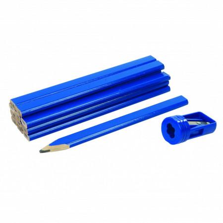 Set creioane de tamplarie , 12 buc + ascutitoare speciala , Carpenters Pencils & Sharpener Set 13pce