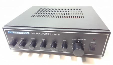 Amplificator 30W tip public adress Majorcom MX30 ,egalizator , intrare de microfon ,iesiri 4-16Ω si 100v