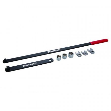 Cheie intinzatoare role auto , tubulare de 15, 16 și 18 mm , cap cheie fixa 13, 14 și 15 mm , Silverline Serpentine Belt Tool Set 8pce