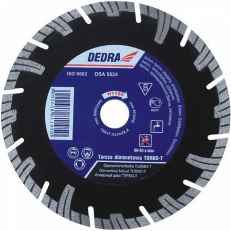 Disc diamantat , 350 x 25.4mm , taie caramida , piatra , beton , Dedra Turbo-T