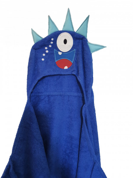 Halat baie cu gluga, 130 x 60cm, 100% bumbac, monstru albastru, George Home