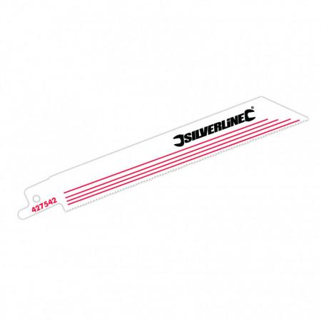 Lame pentru ferăstrău vertical , taie metal , set 5 buc , Silverline Recip Saw Blades for Metal 5pk