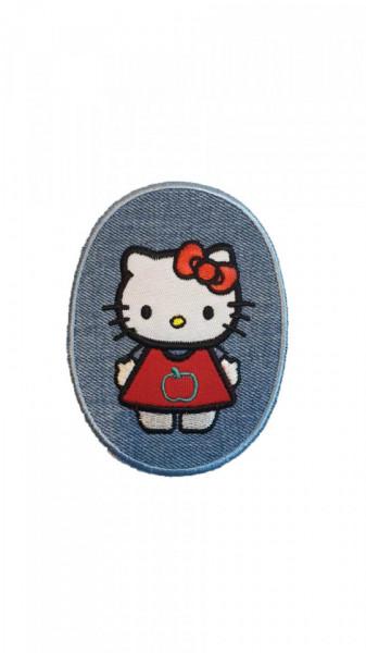 Petic textil, patch brodat , 115 x 85mm, Hello Kitty, aplicare la cald, Wenco