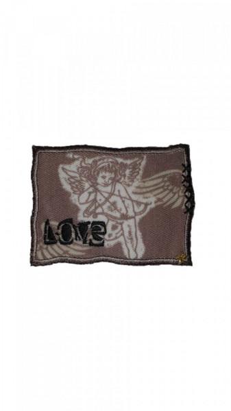Petic textil, patch brodat , 75 x 55mm, aplicare la cald, Angel Love, Wenco