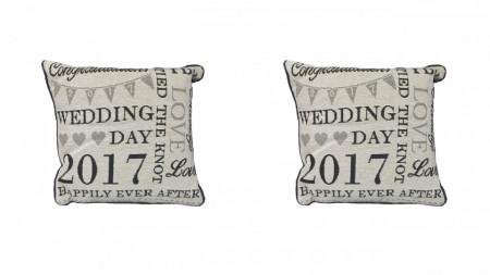 Set 2 perne decorative premium, 30 x 30 cm, wedding, George Home