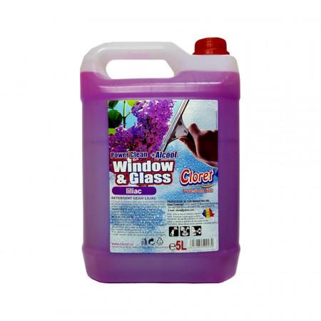 Solutie curatat geamuri, sticla, cu alcool, Liliac, 5L, Cloret