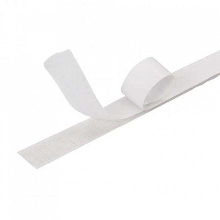 Banda adeziva textila velcro, arici pe ambele parti, adeziv heavy duty spate, 20mm x 500 cm , alb, Fixman