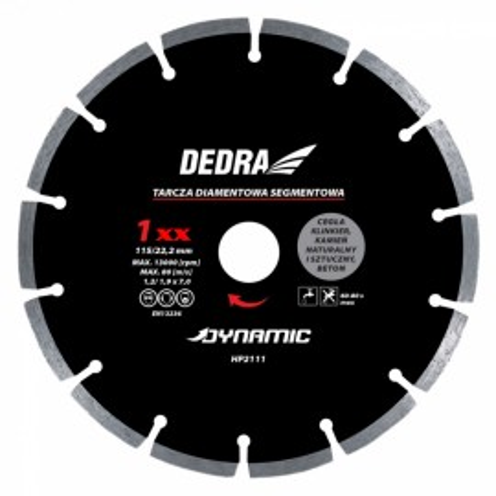Disc diamantat , 180 x 22.2mm , taie caramida , piatra , beton , Dedra
