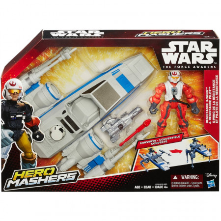 Poze Star Wars Hero Mashers Episode VII Resistance X-Wing and Resistance Pilot , figurine , dimensiune 12 inch