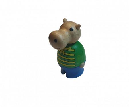Figurina lemn ecologic, hipopotam, 80 x 40mm, Sigikid