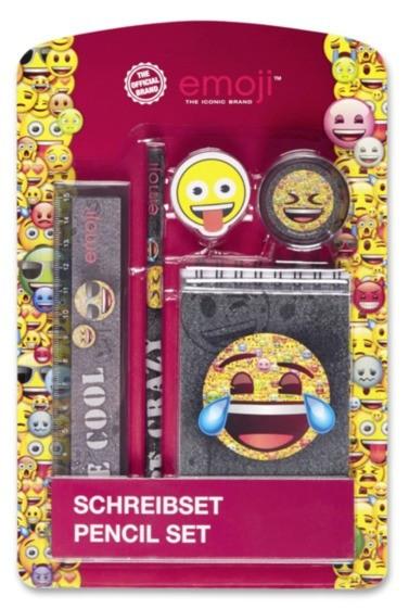Set 5 piese desenat, rigla, creion, carnetel, ascutitoare, Emoji
