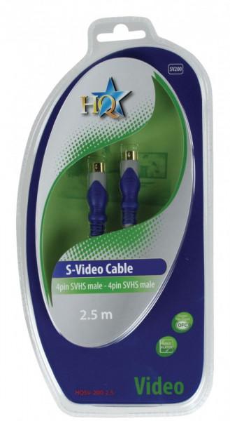Cablu S-Video SVHS 4 pini, tata-tata, 2.5m, HQ