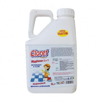 Detergent igienizant suprafete pe baza de clor, concentrat, 2 in 1, 5L, Hygiene, Cloret