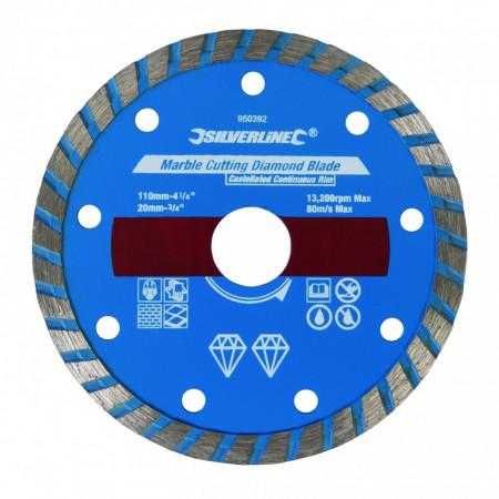 Disc diamantat pentru taiat piatra , marmura , 110 x 20mm , Silverline Marble Cutting Diamond Blade