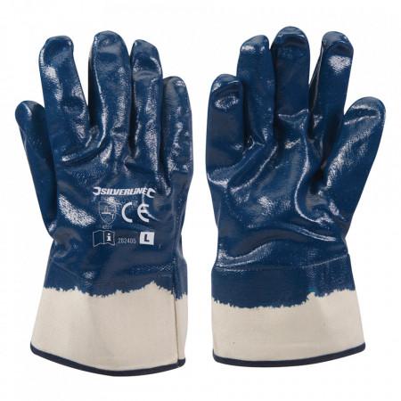 Manusi industriale, set 2 bucati, strat nitril gros, interior bumbac textil, L, albastre ,Silverline