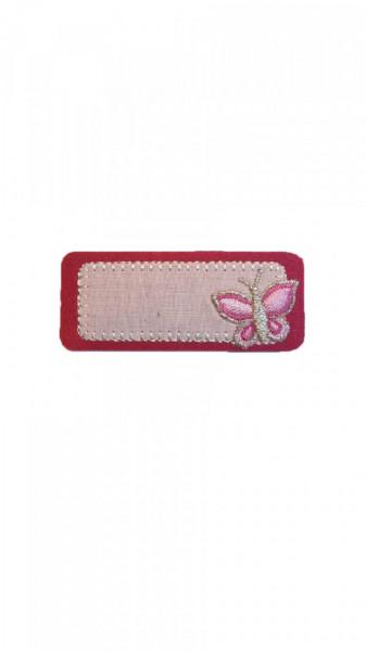 Petic textil, patch brodat , 65 x 28mm, aplicare la cald, roz, Wenco