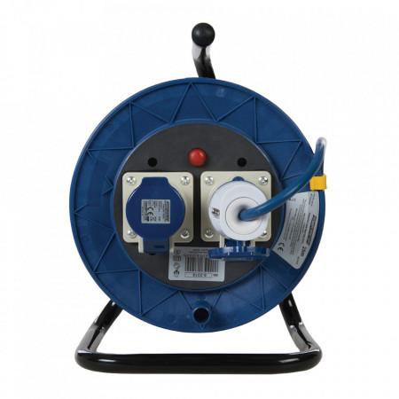 Rola tambur cablu prelungitor, 2 prize industriale, 16A, 25m, protectie termica, 2P+E, POWER MASTER