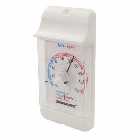 Termometru exterior/interior cu marcare minime/maxime, 158x75x30mm, Silverline