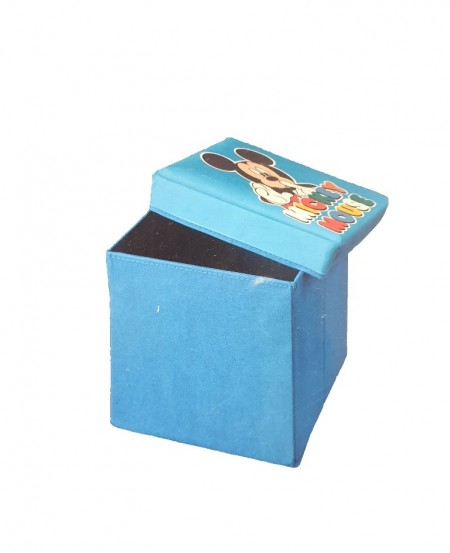 Cutie depozitare cu capac, taburet 85Kg, Mickey Mouse, 2 in 1, 30x30x30 cm, Disney