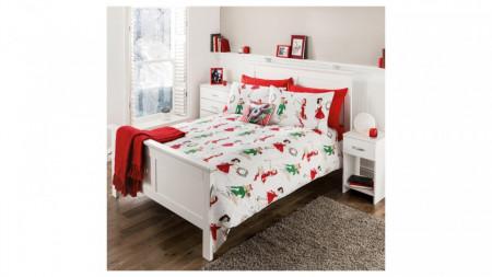 Lenjerie de pat ,1 plic pilota, 2 fete perna, 2 persoane, 225x 220cm, 48 x 74cm, double, vintage christmas, George Home