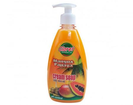 Sapun lichid, 500ml cu dispenser manual, Mango & Papaya - cream soap, extract ulei masline, PH - control, Cloret